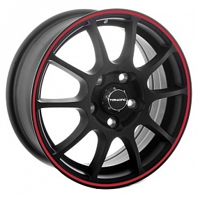Диск TGRacing TGR001 16x6,5 4x98 ET38 58,5 matt black red ring